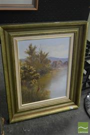 Sale 8541 - Lot 2070 - Pat Murphy, Willy Wag Tails at Cotter Dam, oil on board, frame size: 57 x 46cm, signed lower left -