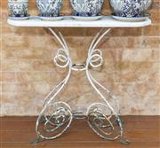 Sale 8530A - Lot 327 - An antique French wrought iron and marble top garden console table, H 77 x W 83 x D 30 cm