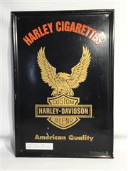Sale 8600A - Lot 27 - An embossed Harley-Davidson cigarette tin sign c. 1990s, H 65 x W 44cm.