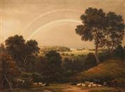 Sale 8624 - Lot 558 - John Glover (1767 - 1849) - Landscape with Rainbow and Cattle 41 x 58cm