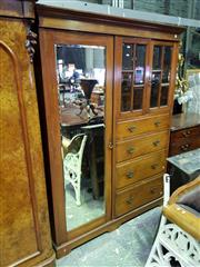 Sale 8653 - Lot 1086 - Late Victorian Walnut Beaconsfield Wardrobe, with long mirror panel door, two short astragal doors & four graduated drawers