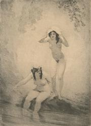 Sale 8794A - Lot 5075 - Norman Lindsay (1879 - 1969) - Two Bathers 24.5 x 18cm (frame: 52 x 44cm)