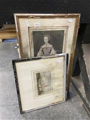 Sale 8990 - Lot 2096 - 3 Engravings: Queen Catherine Parr, Port Jackson Lighthouse & Castle of Heydelberg, all water damaged