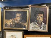 Sale 9069 - Lot 2008 - G Baker (2 works) Portrait of a Boxer, oil on board, frame: 47 x 58 cm, signed lower right and a Portrait of a Man, 1969, oil on...