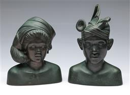 Sale 9093P - Lot 23 - Rare Bronze Pair of Busts of Young Balinese Couple, h. 23-26cm.