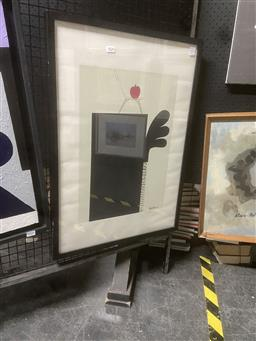 Sale 9123 - Lot 2026 - Artist Unknown Red Apple and Chair screenprint ed. A/P, 75 x 53cm (frame) signed lower -