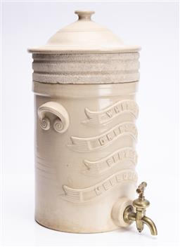 Sale 9185E - Lot 14 - A large ceramic water filter, marked Whites Dripstone filter Melbourne, with lid, total Height 50cm