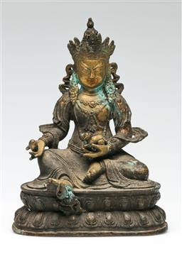 Sale 9209V - Lot 3 - A gilded and cast metal seated Chinese Buddha (H: 20cm)