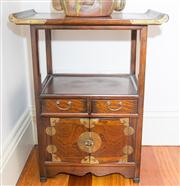 Sale 8308A - Lot 143 - A Korean bedside cabinet with tray top above two drawers and two cupboard doors, with brass hardware, H 67, W 52cm, D 32cm