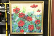 Sale 8325A - Lot 130 - Heather Calnan (XX) - Poppies, 1989 36 x 36cm