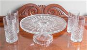 Sale 8470H - Lot 99 - A large and impressive Waterford crystal cake stand, boxed, D 28cm, together with a boxed set of four Royal Doulton crystal high bal...