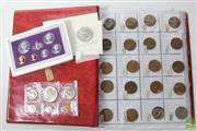 Sale 8490 - Lot 6 - Album of Australian Coins Mostly Pennies Together with Royal Family Stamps and American Commemorative Coins