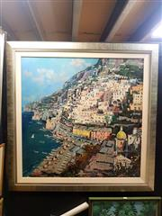 Sale 8671 - Lot 2020 - Artist Unknown - Italian Coast, oil on canvas laid on board, 88.5 x 88.5cm, signed lower left -