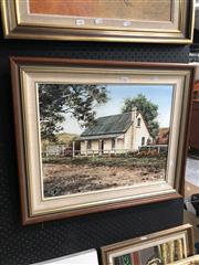 Sale 8856 - Lot 2082 - Lyras - Country Cottage, Oil, SLL 39.5x49.5cm