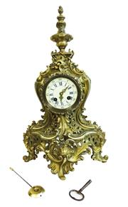 Sale 8912H - Lot 42 - A tall antique French gilt bronze mantle clock  by Samuel Marti of Paris with key and pendulum. Height 50cm