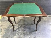 Sale 9048 - Lot 1029 - Good Napoleon III Style Mahogany & Brass Inlaid Card Table, the top with a central vase and flower motif on bracket issuing leafy sc...