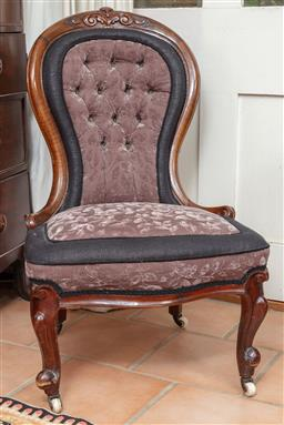 Sale 9120H - Lot 322 - A Victorian velvet upholstered carved occasional chair with mauve and blue buttoned upholstery and on porcelain casters Height of ba...