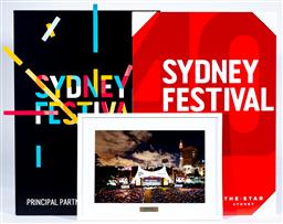 Sale 9130S - Lot 95 - Sydney Festival 2016 40th Anniversary framed photograph together with two Sydney Festival signs. Frame size 44cm x 58cm