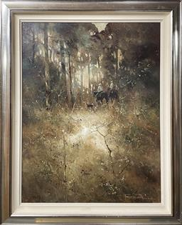 Sale 9133 - Lot 553 - Peter Fennell (1949 - ) Autumn Afternoon oil on canvas on board 107.5 x 83 cm (frame: 132 x 107 x 8 cm) signed lower right