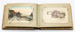 Sale 9144 - Lot 123 - A Japanese Lacquered Album with Postcards inc early handpainted examples