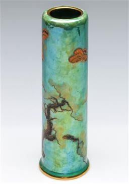 Sale 9164 - Lot 31 - A Royal Doulton lustre finish vase featuring butterflies and trees (H:23.5cm)