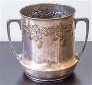 Sale 8279A - Lot 62 - An Art Nouveau style twin handled silver plate cooler, height 22cm