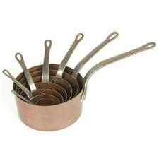Sale 8351A - Lot 81 - Set of Seven Graduated French Copper Saucepans diameter 6-18cm depth 3-9cm(approx weight 3.5kg)