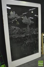 Sale 8368 - Lot 1013 - Large Etched Glass Door with Reindeer Scene (137 x 207cm)