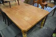 Sale 8380A - Lot 19 - An Edwardian pine kitchen table with single slab top, H 82 x L 185 x W 105cm (probably ex govt. issue)