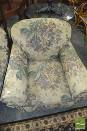 Sale 8406 - Lot 1035 - Pair of Tapestry Upholstered Armchairs on Castors