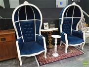 Sale 8447 - Lot 1002 - Pair of Blue Upholstered Porters Chairs