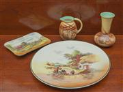 Sale 8470H - Lot 41 - A Royal Doulton Rustic England charger, D 34cm, together with a Royal Doulton rectangular dish, D 20cm, plus two Falcon ware pieces...