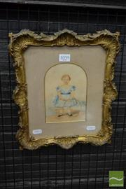 Sale 8500 - Lot 1059 - 19th Century Watercolour by H A Thompson  Portrait of a Young Girl with Hoop in an elaborate rococo style gesso frame (frame size:...
