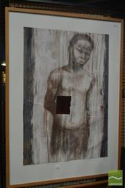 Sale 8537 - Lot 2165 - Artist Unknown, Standing Boy, mixed media, frame size: 112 x 82cm, unsigned