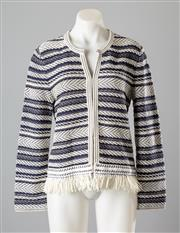 Sale 8661F - Lot 13 - A Tory Burch knitted jacket in alternating blue and white stripes with tassel trim, size medium