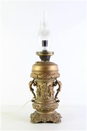 Sale 8940T - Lot 625 - Unusual converted Gilded kerosene lamp H60cm)