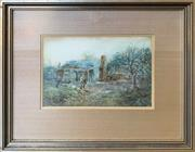 Sale 8964 - Lot 2023 - William Joseph Wadham (1864 - 1950) Old Cottage and Figure watercolour, 35 x 40cm (frame), signed lower right