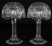 Sale 8985G - Lot 687 - A Pair of Honour Crystal Hurricane Lamps (H 21cm) Together with An Amber Coloured Comport and Small Carnival Glass Dish