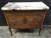 Sale 9048 - Lot 1026 - Louis XVI Style Marquetry Commode, with mottled marble top, the frieze with ivy festoons, above two drawers forming a round medallio...