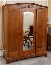 Sale 9058H - Lot 98 - A Large federation maple wardrobe with central mirror flanked by doors (ensuite to the chest and dresser) H-211cm W-168 D-52cm