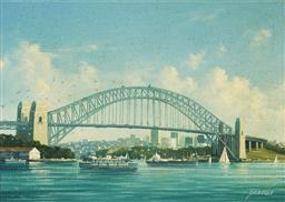 Sale 9125 - Lot 558 - Joseph Frost (1953 - ) Sydney Harbour Bridge oil on board 15.5 x 21.5 cm (frame: 35 x 41 x 5 cm) signed lower right