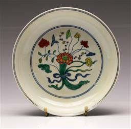 Sale 9119 - Lot 32 - A Wucai Chinese dish with centralised floral motif (Dia 22cm)