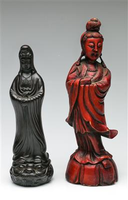 Sale 9209V - Lot 43 - A ceramic Guanyin (H:30cm) and a composite example (H:38cm)