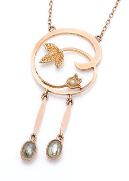 Sale 9253J - Lot 361 - AN ART NOUVEAU 9CT TWO TONE GOLD AQUAMARINE AND PEARL NECKLACE; rose gold tendril pendant with yellow gold leaf and seed pearl set f...