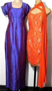 Sale 8134B - Lot 382 - FOUR EVENING DRESSES; 2 by Covers orange and gold lace and pink with gold embroidery (both 14), others long purple shot silk (S), an...
