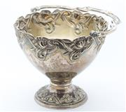 Sale 8269A - Lot 37 - An Art Nouveau continental silver round basket, with repousse tulip decoration round rim and foot to which was attached a twisted vi...