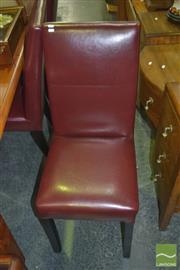 Sale 8331 - Lot 1507 - Set of Six Maroon Upholstered Dining Chairs