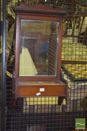Sale 8359 - Lot 1717 - Antique Bevelled Edge Wall Mirror with Lift Top Compartment