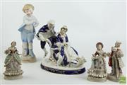 Sale 8494 - Lot 18 - Bisque Figure With Other Ceramic Figures Including Czech Example