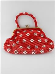 Sale 8514H - Lot 32 - Vintage Red & White Beaded Handbag